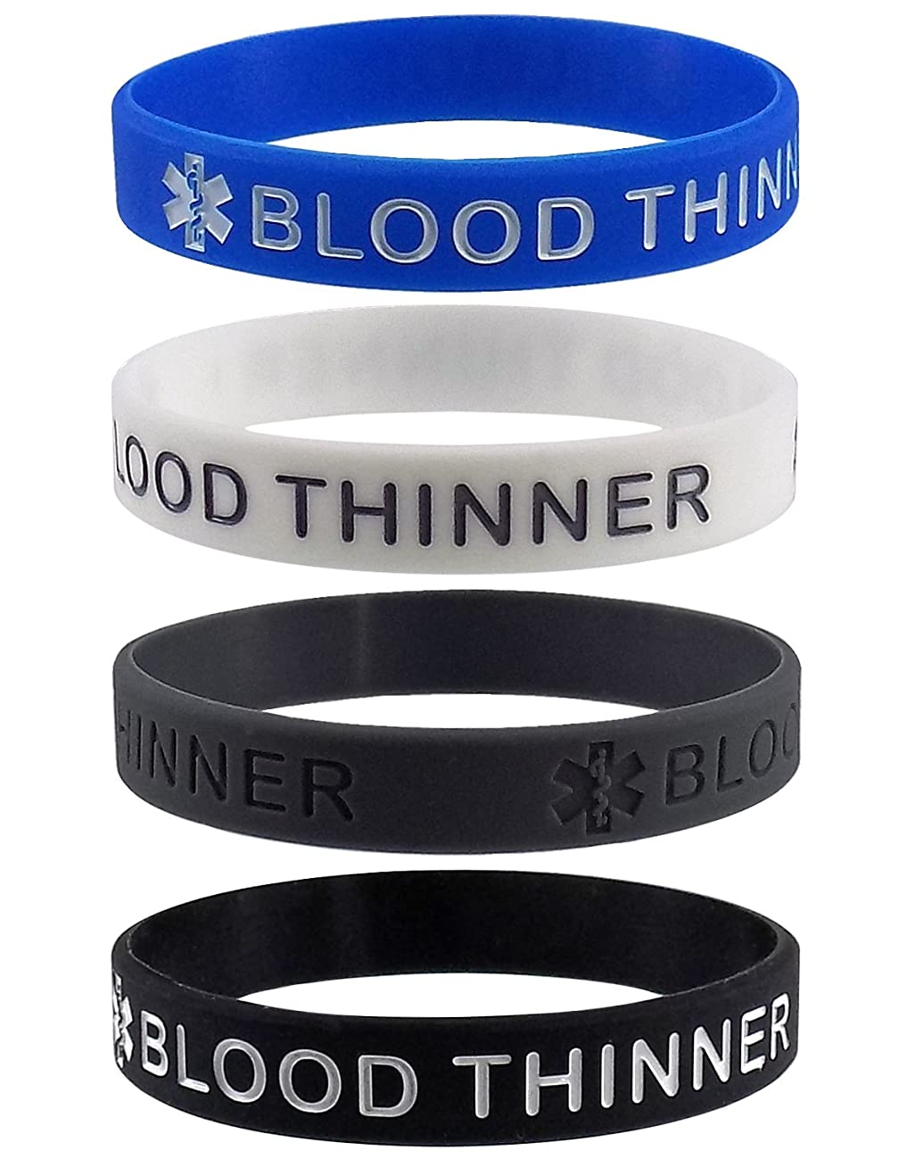 Max Petals Blood THINNER Medical Alert ID Silicone Bracelet Wristbands 4 Pack