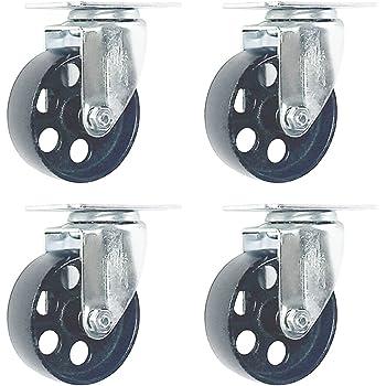 """4/"""" dia steel wheels 2/"""" wide Heavy Duty Swivel Caster 5.5/"""" tall w//Grease Zerts"""