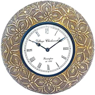 Apka Mart The Online Shop Decorative Wood & Brass Wall Watch 12 Inches for Wall Décor & Gifts