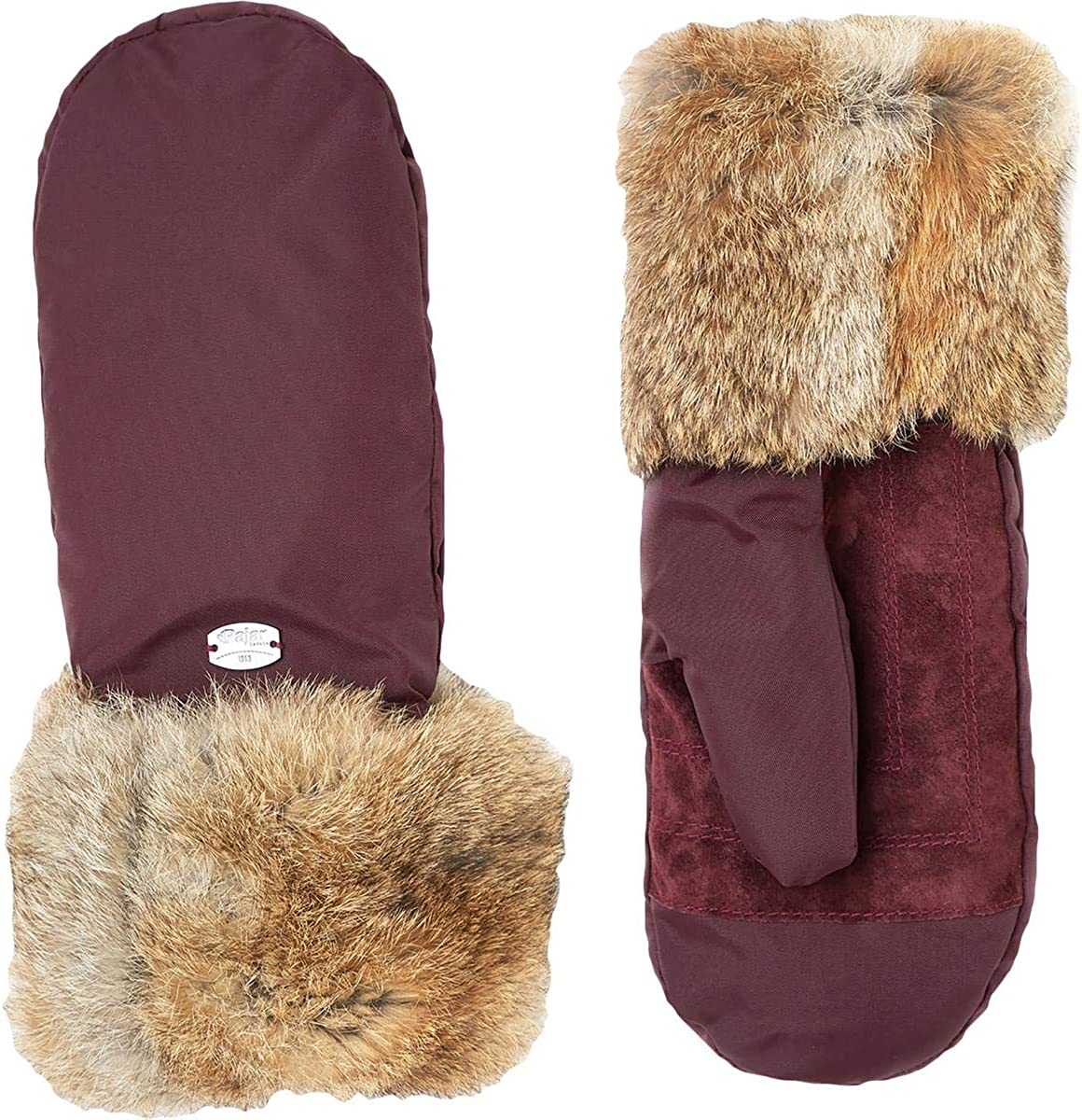Pajar Reid Women's Rabbit Fur Trim Warm Winter Sueded Mittens (M/L, Oxblood)