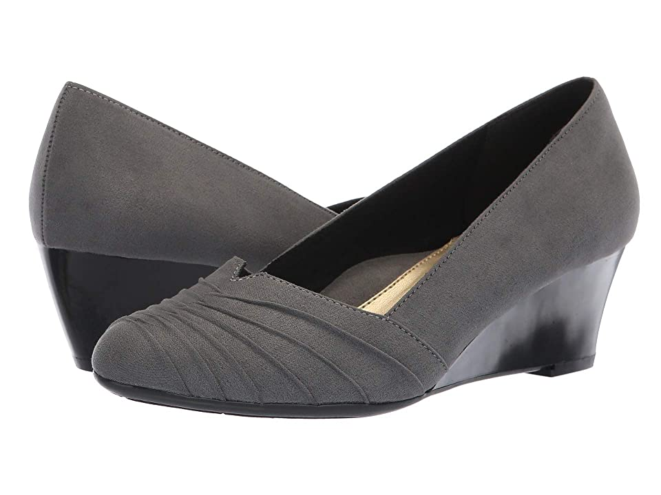 1940s Style Shoes, 40s Shoes Soft Style Gerdie Dark Grey Faux Suede Womens Wedge Shoes $54.95 AT vintagedancer.com