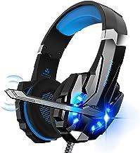 Cuffie da gaming PS4, cuffie da gioco stereo, luce stereo Bass anti-rumore, LED con jack da 3,5 mm, compatibile con PS4/PS5/Xbox One/PC/Mac (G9000- Blue)