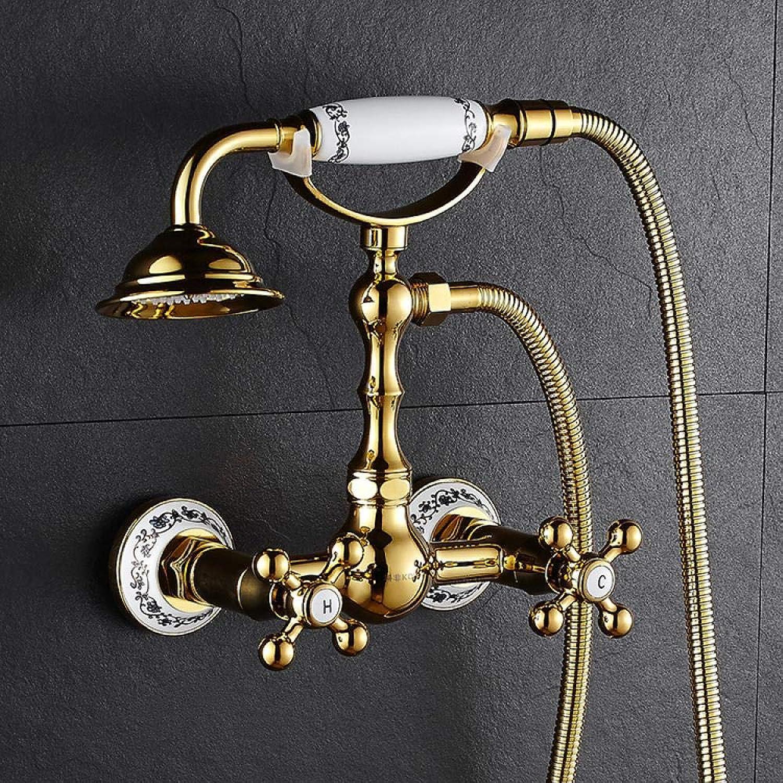 In-Wand-Dusche, Goldenes Duschset, In-Wand-Dusche, Einfache Dusche, Goldenes Und Weies Porzellantelefon (Lifter)