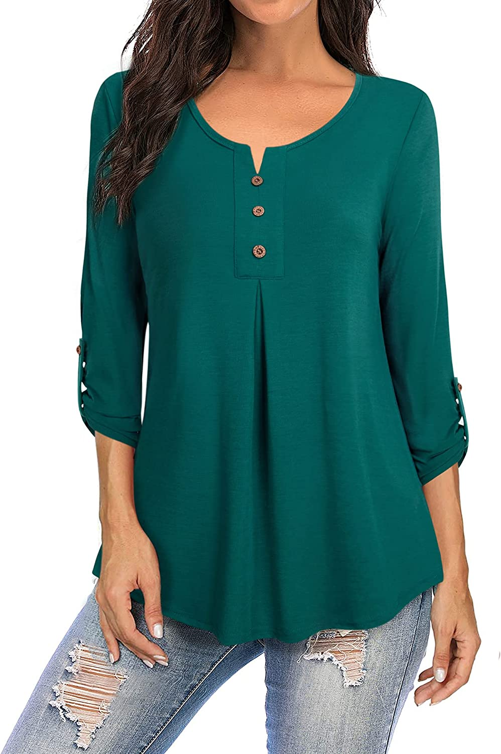 Furnex Women's Casual 3/4 Sleeve Shirts Round Neck Blouses Pleated Tunic Tops with Buttons