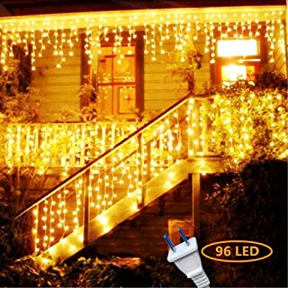 Hezbjiti 8 Modes LED Icicle Lights,15.7 FT(Cover lead line )96 LED Fairy String Lights Plug in Extendable Curtain Light String Christmas Lights for Bedroom Patio Yard Garden Wedding Party (Warm White)