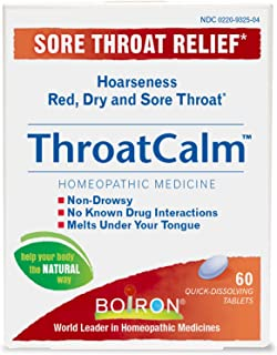 Throat Calm Sore Throat Relief Homeopathic Medicine Adults and Kids (Pack of 2) with Arnica Montana, Belladonna, Bromium, Bryonia and Pulsatilla, 60 Tablets Each