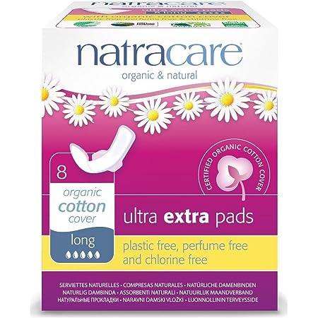 ナトラケア Natracare 生理用ナプキン オーガニック 多い日用~夜用 羽根付き ウルトラパッド ロング 8個入り