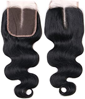 Lanyi 10 inch Brazilian Body Wave Lace Closure Middle Part Virgin Human Hair Closure Natural Black 1b 130% Density 4x4 Lace
