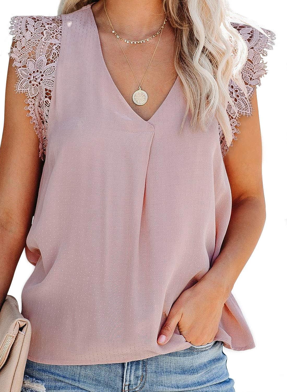 BLENCOT Womens Summer Chiffon V Neck Lace Tank Tops Casual Loose Sleeveless Blouse Cami Shirt S-XXL