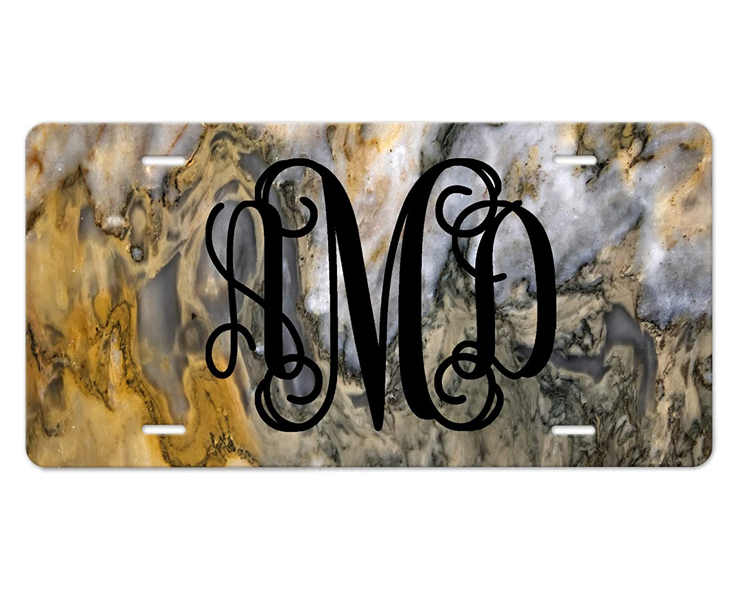 Custom Monogram New item Front License Brand Cheap Sale Venue Plate Marble Desig Gold Silver and