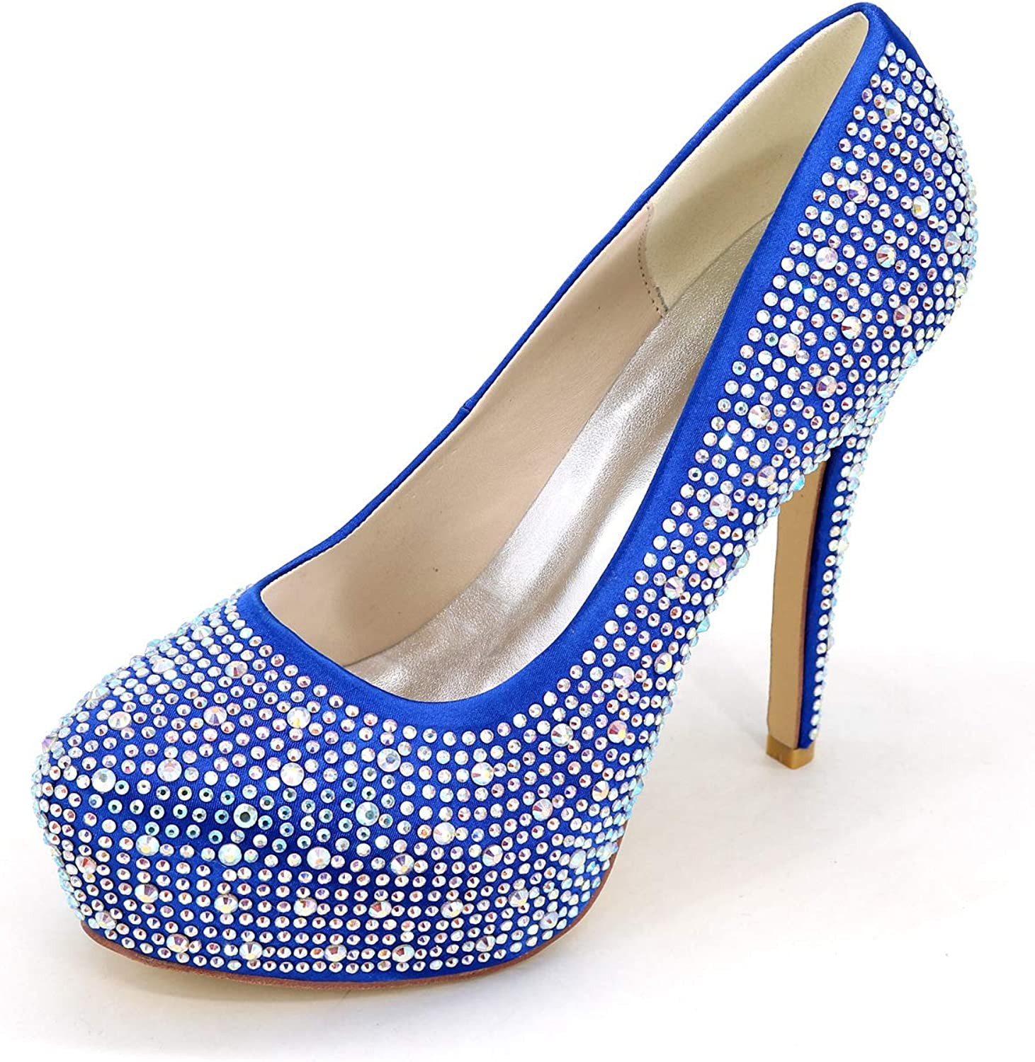 LLBubble Women High Heels Platform Beaded Wedding shoes Slip-on Round Toe Formal Party Dress Bridal Pumps 88600-02