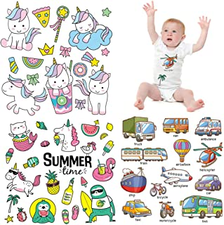 Baby Iron on Patches Unicorn Stickers Cars Transfer Appliques for Jeans T-Shirts Jackets Bikini Kids Summer Decals Ice Cream Clothes Decals Funny Cute Clothing Decorations Perfect Garment Accessories