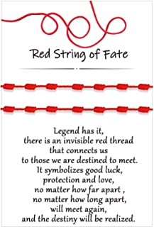 7 Knot Red String of Fate Bracelets Good Luck Protection Couples Bracelets for Boyfriend and Girlfriend Him and Her Long D...