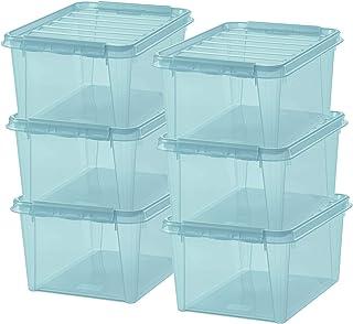 SmartStore - Colour 31 - Lot de 6 Boîtes de Rangement - Bleu Transparent - 50 x 39 x 26 cm - 32l - Plastique