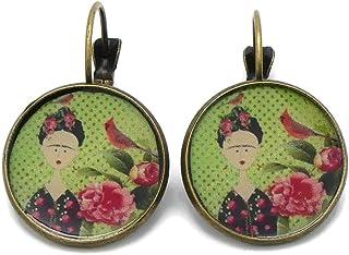 Orecchini resina Frida uccello fiore rosa rosso verde nero ottone bronzo perla regali di natale cerimonia anniversario di ...