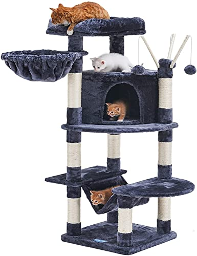 2021 Hey-brother Cat Tree new arrival for Indoor Cats, 50 inch Cat Tower with Scratch Posts, sale Sturdy cat House with Large cat condo, cat Perch, cat Hammock and Interactive cat Toy online sale