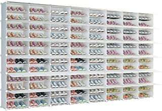 KOUSI Portable Shoe Rack Organizer 96 Grids Tower Shelf Storage Cabinet Stand Expandable for Heels, Boots, Slippers, White