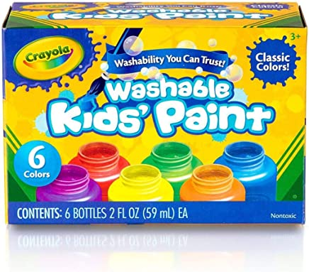 a59576a20 Crayola Washable Kids Paint, Classic Colors, 6 Count, Painting Supplies,  Gift
