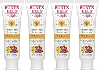 Burt's Bees Kids Toothpaste, Fluoride Free, Fruit Fusion, 4.2 Oz, Pack of 4