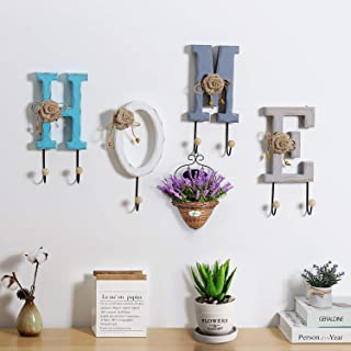 Home Key Holder for Wall Wooden Letters Decorative Key Hanger for Front Door Kitchen Garage Entryway Organizer for Keys Purses Wallets Leashes Belts