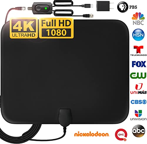 [Latest 2020] Amplified HD Digital TV Antenna Long 200 Miles Range - Support 4K 1080p Fire tv Stick and All Older TV's Indoor Powerful HDTV Amplifier Signal Booster - 18ft Coax Cable/AC Adapter product image