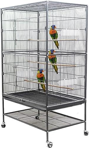Dawoo Cage à Oiseaux Extra Large à 2 Niveaux pour volière d'oiseaux cacatoès/Perroquet/inséparable/Pinson avec Suppor...