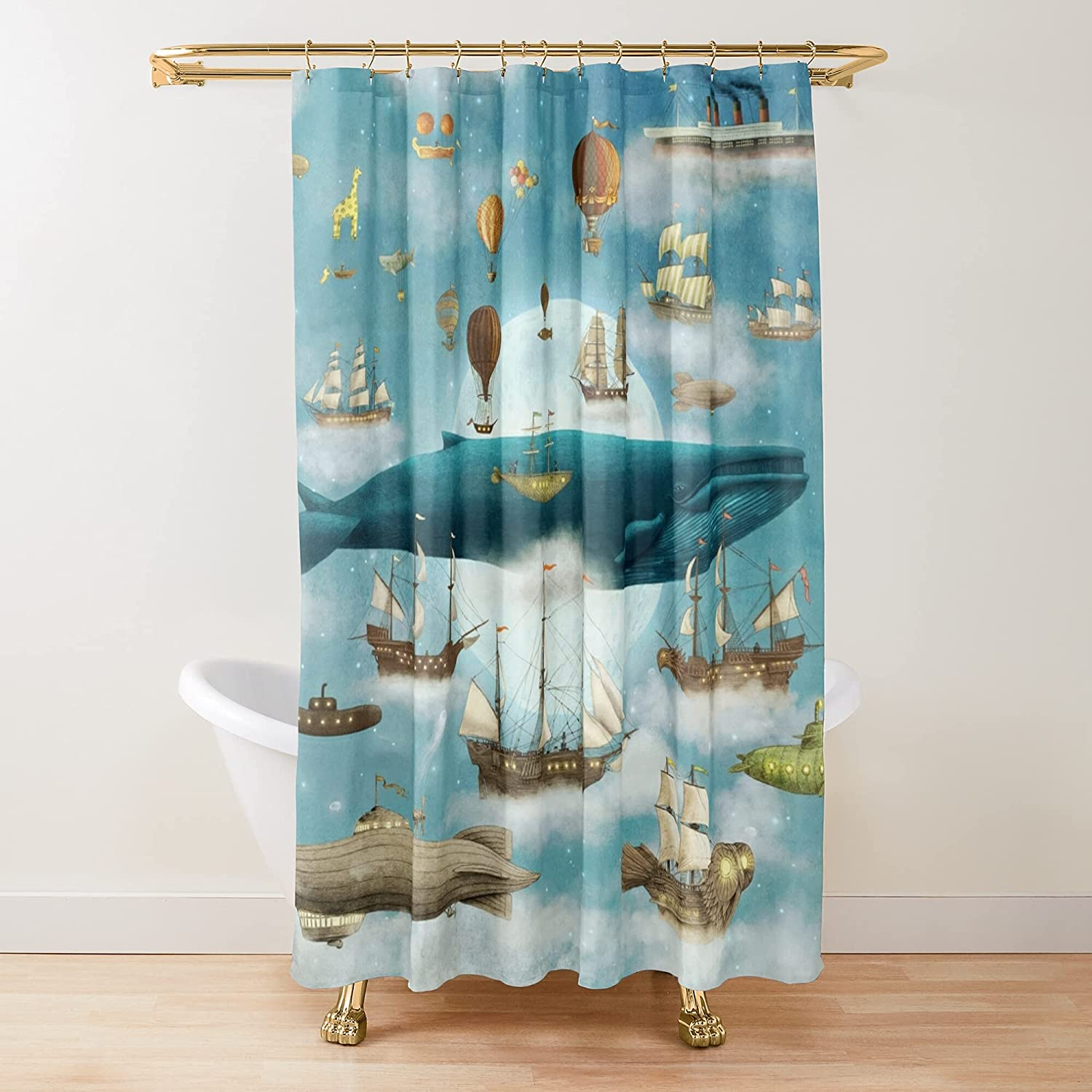 Sale Ocean Meets Sky Book Fabric Printed Customize gift Shower Curtains B
