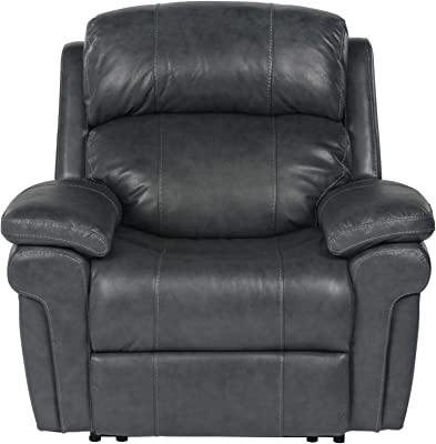 Sunset Trading Luxe Leather Power Recliner, Steel gray