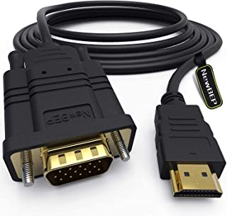 HDMI to VGA Adapter Cable, NewBEP 6ft/1.8m Gold-Plated 1080P HDMI Male to VGA Male Active Video Converter Cord Support Notebook PC DVD Player Laptop TV Projector Monitor Etc (Renewed)
