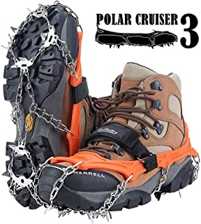 19 Spikes Crampons Ice Snow Grips Traction Cleats System Safe Protect for Walking, Jogging, or Hiking on Snow and Ice (Fit S/M/L/XL/XXL Shoes/Boots)