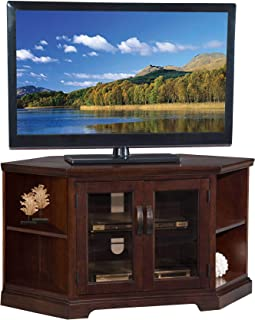 46 in. Corner TV Stand with Bookcases in Chocolate Cherry and Bronze