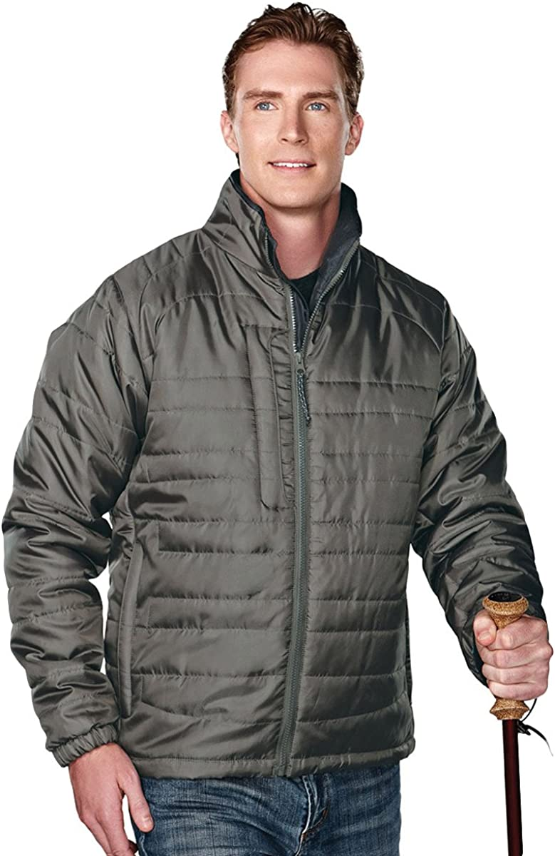 Tri-Mountain Men's 100% Polyester Rib- stop long sleeve quilt jacket with water resistent, M, MOSS/CHARCOAL