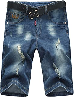 e527ee764ac Men s Jean Denim Short Cargo Shorts Classic Five Pocket Big   Tall Casual  Ripped Distressed Straight