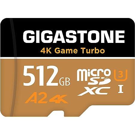 【5年データ回復保証】【Nintendo Switch対応】 Gigastone Micro SD Card 512GB マイクロSDカード 4K Game Turbo A2規格 100/80 MB/s 4K撮影 SDXC UHS-I A2 4K Class 10 アダプタ付 ミニ収納ケース付 メーカー10年保証付