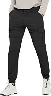 PULI Men's Hiking Cargo Pants Slim Fit Stretch Jogger Cycling Waterproof Outdoor Trousers with Pockets