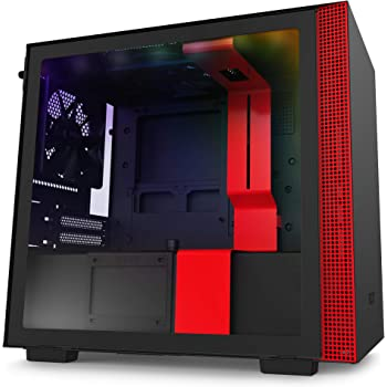 NZXT H210i - Mini-ITX PC Gaming Case - Front I/O USB Type-C Port - Tempered Glass Side Panel Cable Management - Water-Cooling Ready - Integrated RGB Lighting - Steel Construction - Black/Red