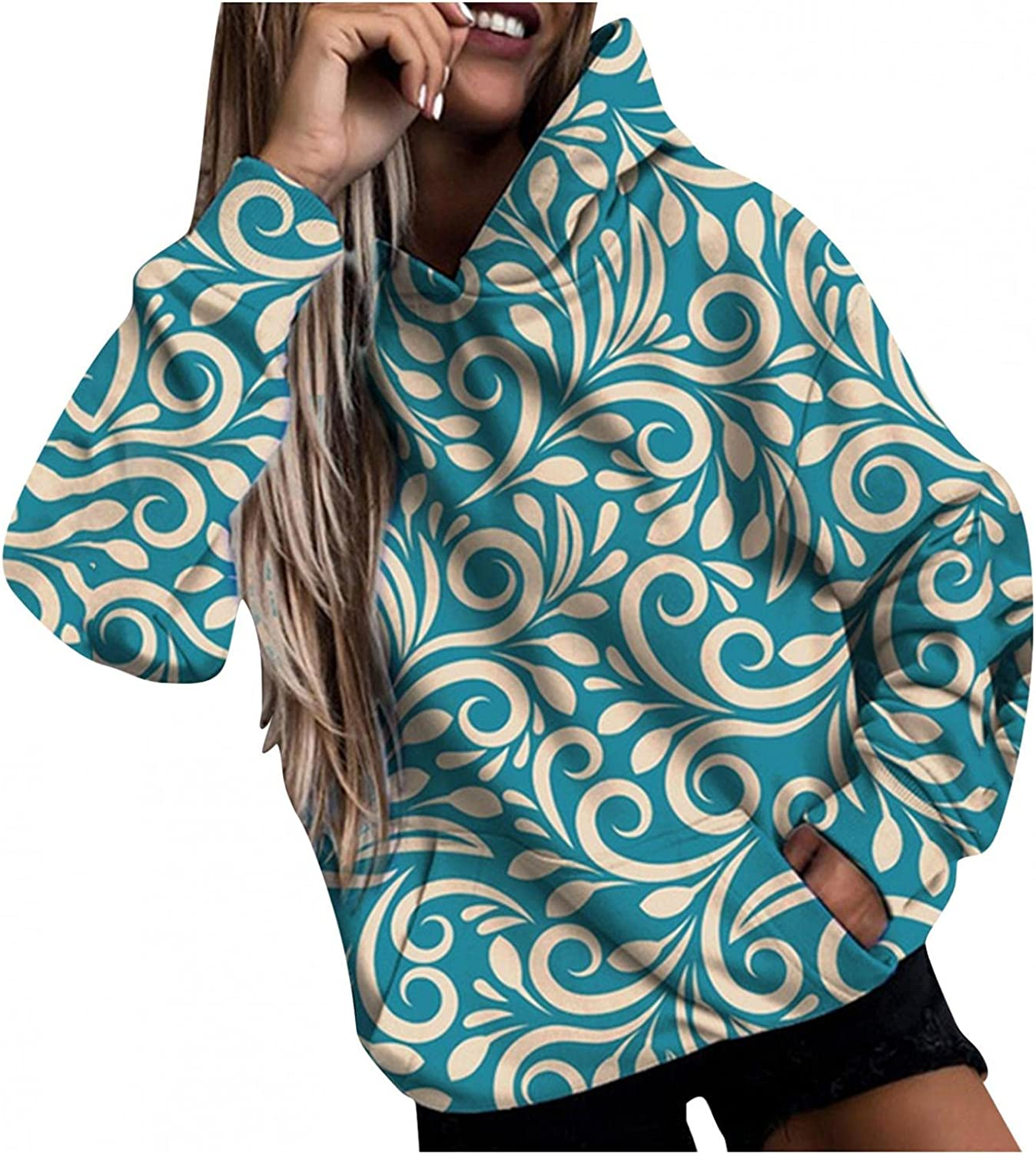 COMVALUE Hoodies for Women,Womens Pullover Sweatshirts Fashion Printed Pocket Long Sleeve Casual Tops