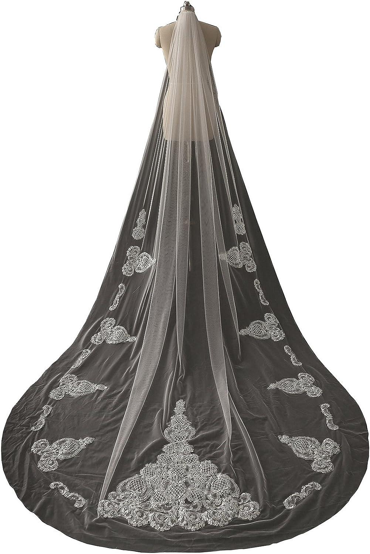 Cibelle Women's Sequins Lace Wedding Veil 3M Long Bridal Veil With Comb