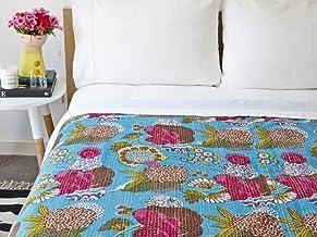 Ramdevcrafts Indian Handmade Decorative Kantha Throw Blanket Vintage Fruit Print Patchwork Boho Quilt Ethnic Hippie Bohemi...