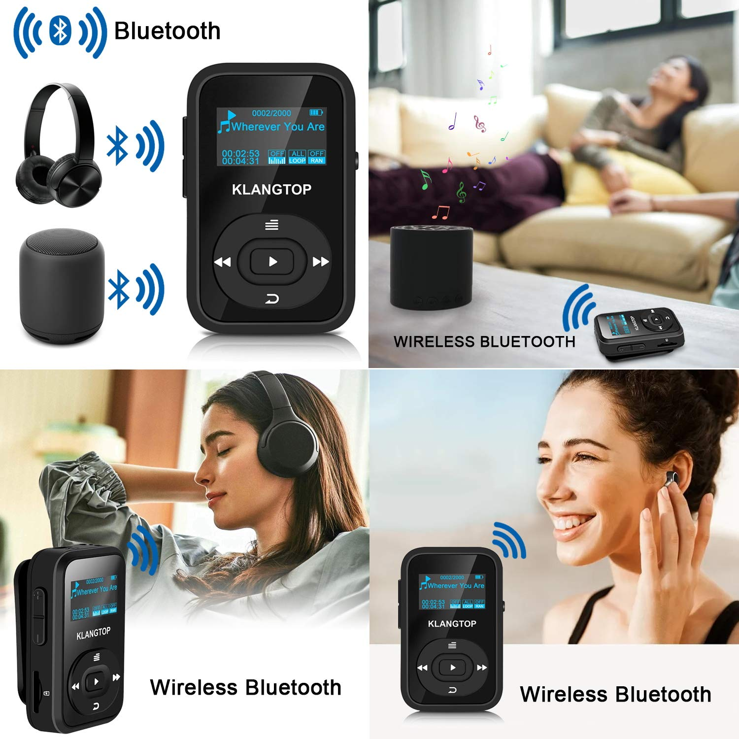 MP3 Player Bluetooth 8GB KLANGTOP Digital Clip Music Player with FM Radio Voice Record Function Special Design for Sport and Music Lovers
