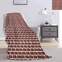 Luoiaax London Plush Throw Blanket for Couch Retro Cartoon Style Double Decker Bus Pattern UK England Travel Transportation Soft Throw Blankets for Adults W51 x L60 Inch Red Grey Cream