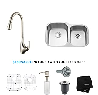 "Kraus KHU100-32-KPF1612-KSD30SS 32"" Undermount Single Bowl Stainless Steel Kitchen Sink with Stainless Steel Finish Kitchen Faucet and Soap Dispenser"