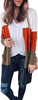 Women's Open Front Color Block Long Knit Cardigan with Pockets