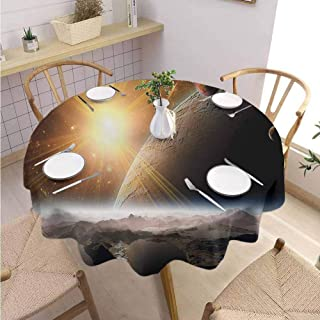 DILITECK Outer Space Covering Round Tablecloth Moons and Universe View from The Earths Surface Galaxy Theme Art Print Fabric Tablecloth Diameter 60