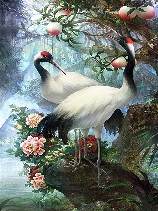 DIY 5D Diamond Painting by Number Kits, Full Drill Crystal Rhinestone Embroidery Pictures Arts Craft for Home Wall Decoration 11.8 x 15.7 inch (Red-Crowned Crane)