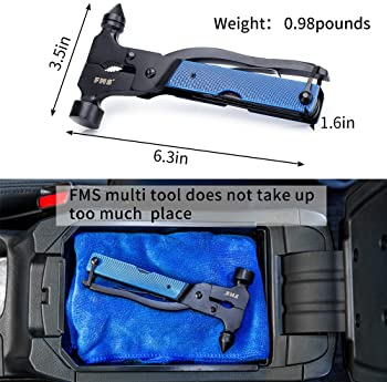 FMS Stainless Steel Multi Tool, Portable Multi-functional Hammer Kit with Nylon Belt Pouch for Car Emergency, Camping...