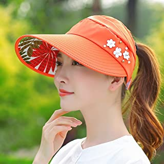 QYJpB-Hats Ladies Floppy Wide Brim Sun Hat, Summer UV Protection Adjustable Beach Hat, Foldable Fishing Hat (Color : Orange)