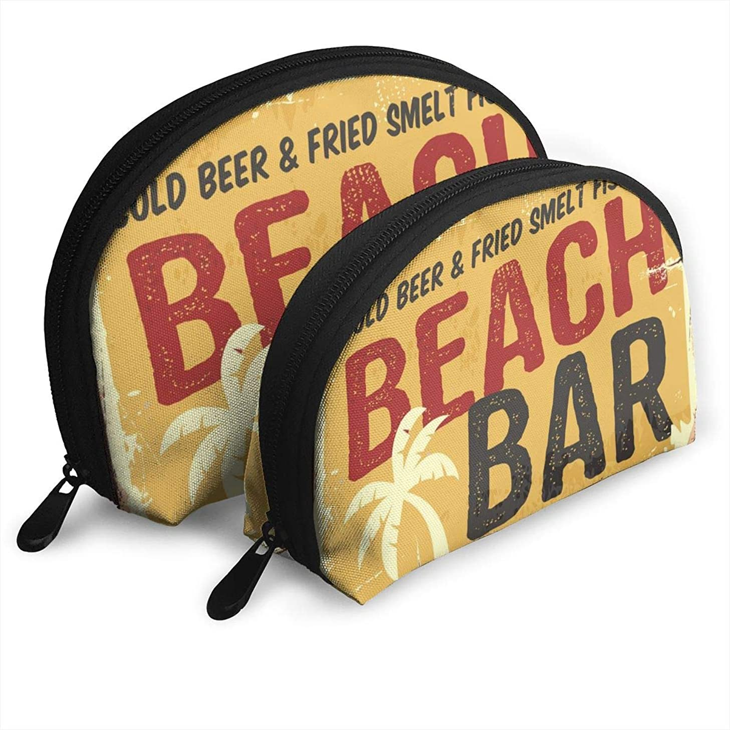 BIANGBIANGM Beach Bar Retro Damaged Rusty Sign Board 2Pcs Portable Cosmetic Bag,Shell Portable Bags Clutch Pouch Cosmetic Makeup Bag Pouch,Toiletry Bag,Mini Travel Cosmetic Bag for Women Girls