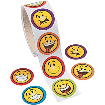 ULTNICE 100 Pcs Circle Smiley Face Stickers Funny Toy Sticker for Children Kids
