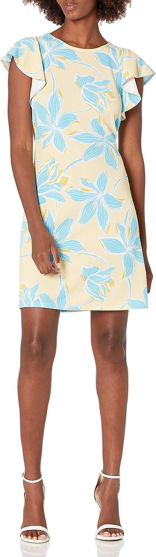NINE WEST Women's Flutter Sleeve Swing Dress